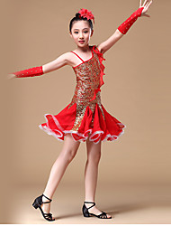 Latin Dance Dresses Children's Performance Polyester Crystals/Rhinestones Sequins 5 Pieces Sleeveless HighDress Gloves Headpieces