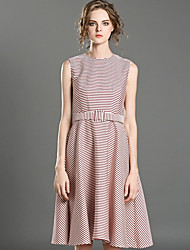 INPLUS LADY Women's Casual/Daily Simple A Line DressStriped Round Neck Above Knee Sleeveless Pink Polyester Summer High Rise Micro-elastic Medium