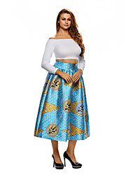 Women's African Print A-line Pleated Midi Skirt
