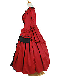 One-Piece/Dress Gothic Lolita Victorian Cosplay Lolita Dress Red Solid 3/4-Length Sleeve Ankle-length Dress For Cotton