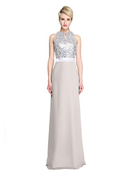 2017 Lanting Bride® Floor-length Chiffon Sequined Sparkle & Shine Bridesmaid Dress - Sheath / Column Jewel with Sash / Ribbon Sequins
