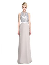 Lanting Bride® Longo Chiffon Paetês Brilho & Glitter Vestido de Madrinha - Tubinho Decorado com Bijuteria com Faixa / Fita Lantejoulas