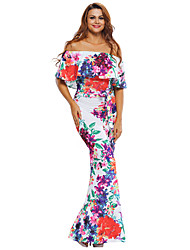 Women's Multi-color Floral Print Off-the-shoulder Maxi Dress