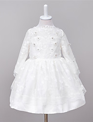 A-Line Knee Length Flower Girl Dress - Chiffon Long Sleeves Jewel Neck with Applique