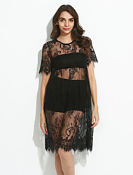 Women's Sexy Solid Lace Dress , Round Neck Knee-length Polyester
