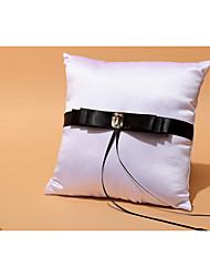 Ivory / Red / Black 1 Ribbons / Bow / Rhinestones Satin Ring Pillow