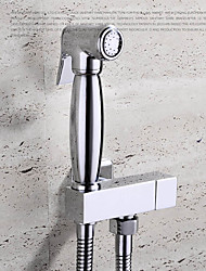 Bidet Faucets  ,  Contemporary  with  Chrome Single Handle One Hole  ,  Feature  for Wall Mount / Pull out