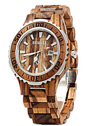 Men's Women's Couple's Wrist watch Wood Watch Calendar Quartz Japanese Quartz Wood Band Luxury Red