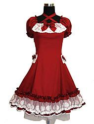 Uma-Peça/Vestidos Princesa Cosplay Vestidos Lolita Vermelho Cor Única Manga Curta Longuete Vestido Para Feminino Algodão