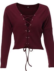 Femme lacet Normal Pullover Sortie Décontracté/Quotidien Sexy,Couleur Pleine Rouge Noir Marron Vert Col en V Manches Longues Coton