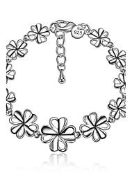 2016  Women Fashion 925 Sterling Silver Leaf Tassels Chain Bracelet Jewelry Gifts