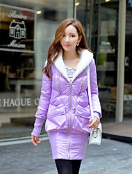 DABUWAWA Women's Long Padded CoatVintage / Cute / Sophisticated Going out / Casual/Daily / Holiday Solid-Polyester Polyester Long Sleeve Hooded