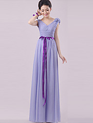 Sheath / Column Strapless Halter One Shoulder V-neck Sweetheart Straps Floor Length Chiffon Bridesmaid Dress withFlower(s) Sash / Ribbon