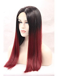 Synthetic Lace Front Wigs Black Roots Burgundy Hair Ombre Silky Striaght Synthetic Wigs