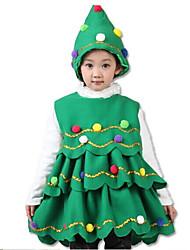 Costume de Soirée Bal Masqué Cosplay Fête / Célébration Déguisement Halloween Vert Couleur Pleine Robe Chapeau Noël Unisexe Enfant Pleuche
