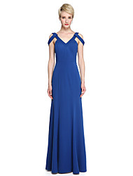 LAN TING BRIDE Floor-length V-neck Bridesmaid Dress - Elegant Sleeveless Jersey