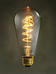 e27 40w 500lm 3000-3500k st64 lampe à incandescence à lumière chaude centrale à courant de tungstène (ac 220-240v)