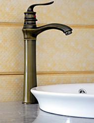 Античный Настольная установка Одной ручкой одно отверстие in Старая латунь Ванная раковина кран