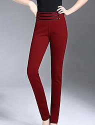 Feminino Skinny Chinos Calças-Cor Única Casual Simples Cintura Alta Elasticidade Elastano Algodão Náilon Com Elástico Outono Inverno