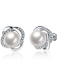 Stud Earrings Jewelry Women Wedding / Party / Daily Pearl / Alloy / Zircon / Silver Plated 1 pair Silver