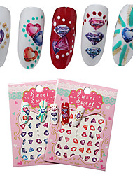 2 Sheet Nail Sticker Art Autocollants de transfert de l'eau Maquillage cosmétique Nail Art Design