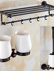 A Set of Three Products(Bathroom Shelf/Toilet Brush Holder/Toothbrush Holder)  Of  Oil Rubbed Bronze