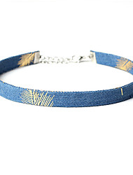 Blue Denim Necklace Non Stone Choker Necklaces Jewelry Women 1pc Gift Silver / Pool