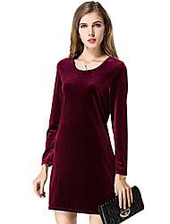 Feminino Evasê Vestido, Casual Trabalho Sensual Moda de Rua Sólido Decote Redondo Acima do Joelho Manga Longa Azul Vermelho Preto Verde