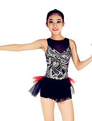 Latin Dance Leotards Women's / Children's Performance Spandex / Polyester / OrganzaPaillettes / Pleated / Sequins / Tassel(s) / Color