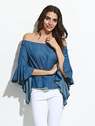 Tee-shirt Femme,Couleur Pleine Soirée / Sortie Sexy / simple Eté Manches Longues Bateau Bleu Polyester / Spandex Fin