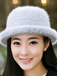 Fashion Winter Lady Rabbit Hair Curling Round Basin Cap