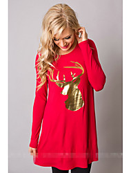 Foreign trade explosion models in Europe and America ebay AliExpress new golden Christmas deer printing loose long-sleeved round