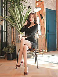 2016 new Korean sexy package hip Slim was thin lace stitching nine points sleeve dress