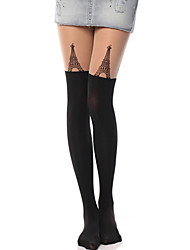 Socks/Stockings Classic/Traditional Lolita Lolita See Through Black Lolita Accessories Stockings Print For Women Velvet