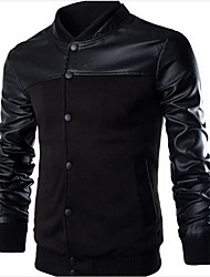Men's Casual/Daily Hoodie Jacket Letter Stand Inelastic Cotton Polyester Long Sleeve Spring