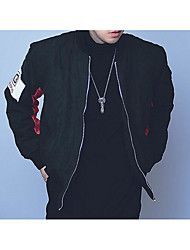 Men's Casual/Daily Simple Jackets,Solid Stand Long Sleeve Spring Fall Black Green Polyester Medium