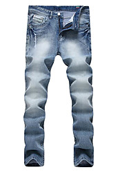 Men's Slim Jeans Pants,Casual/Daily Vintage Simple Solid Mid Rise Zipper Button Rayon Micro-elastic All Seasons
