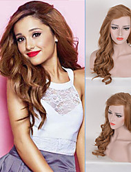 peruca peruca sintética resistente naughty partido ariana grande celebridade peruca longa comprimento de onda corpo marrom forma de calor
