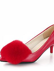 Damen-High Heels-Büro Lässig-PU-Stöckelabsatz-Komfort-Schwarz Grün Rot