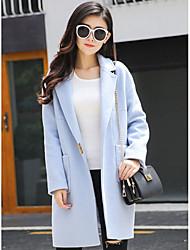 Feminino Casaco Casual Simples Inverno, Sólido Azul Rosa Lã Poliéster Decote em V Profundo-Manga Longa Média