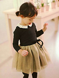 Girl's Casual/Daily Patchwork Dress,Cotton Mesh Spring Fall Long Sleeve