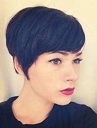 charmoso sem tampa em camadas curto perucas de cabelo humano em linha reta naturais