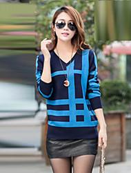 Damen Standard Pullover Gestreift Blau Beige Gelb V-Ausschnitt Langarm Baumwolle Leinen Andere Frühling Mittel