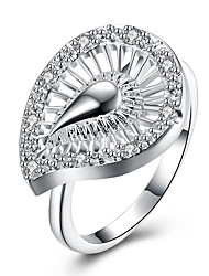 Ring Non Stone Wedding Daily Casual Jewelry Brass Silver Plated Women Ring 1pc