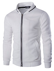 Men's Casual/Daily Simple Jackets,Color Block Stand Long Sleeve Fall White Black Cotton Medium