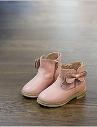 Girls' Boots Fashion Boots Cowhide Spring Fall Casual Outdoor Fashion Boots Bowknot Flat Heel Black Light Pink Under 1in
