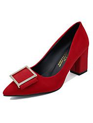 Women's Heels Spring Comfort PU Wedding Outdoor Dress Casual Party & Evening Chunky Heel Buckle Black Gray Red