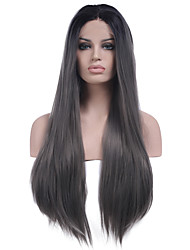 Heat Resistant Synthetic Lace Front Wig Long Straight Hair New Grey Color Synthetic Hair Fiber Wigs With Adjustable Straps Back