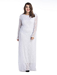 Women's Plus Size Simple Lace Dress,Solid Round Neck Maxi Long Sleeve White Black Polyester Spring Mid Rise Micro-elastic Medium