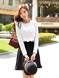DABUWAWA Women's Going out Casual/Daily Holiday Vintage Simple Sophisticated A Line Sheath Swing DressColor Block Patchwork Round Neck Above Knee